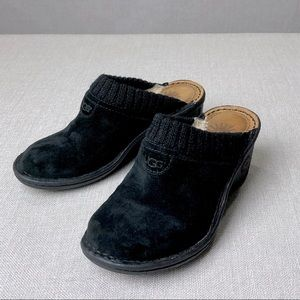 UGG Shoes - UGG Black Suede Sherling Lined Mules Shoes 5